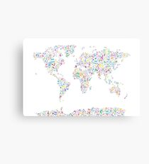 Music Notes Map of the World Canvas Print