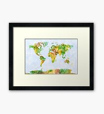 Map of the World Watercolour Framed Print