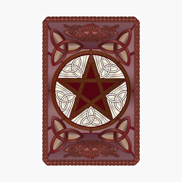Pentagram rojo, Triquatras y Celtic Knot-Work # 1 Lámina fotográfica