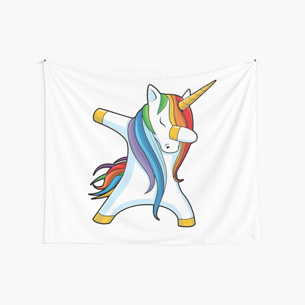 Dabbing Unicorn Shirt Cute Funny Unicorns T shirt Gifts for Kids Girls Boys Women Men Wall Tapestry