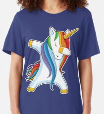 Dabbing Unicorn Shirt Cute Funny Unicorns T shirt Gifts for Kids Girls Boys Women Men Slim Fit T-Shirt