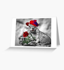 Red Hatter Squirrel Greeting Card