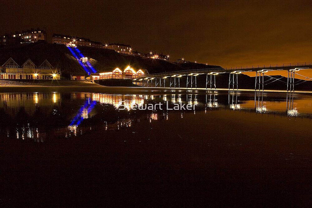 Saltburn Pier Night Reflections by Stewart Laker