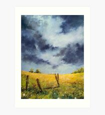 A Stormy Sky, Pastel Artwork Thunderstorm Plains Art Print