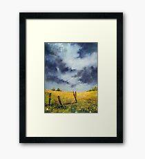 A Stormy Sky, Pastel Artwork Thunderstorm Plains Framed Print
