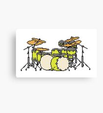 Pixel Yellow Glo Drums Canvas Print