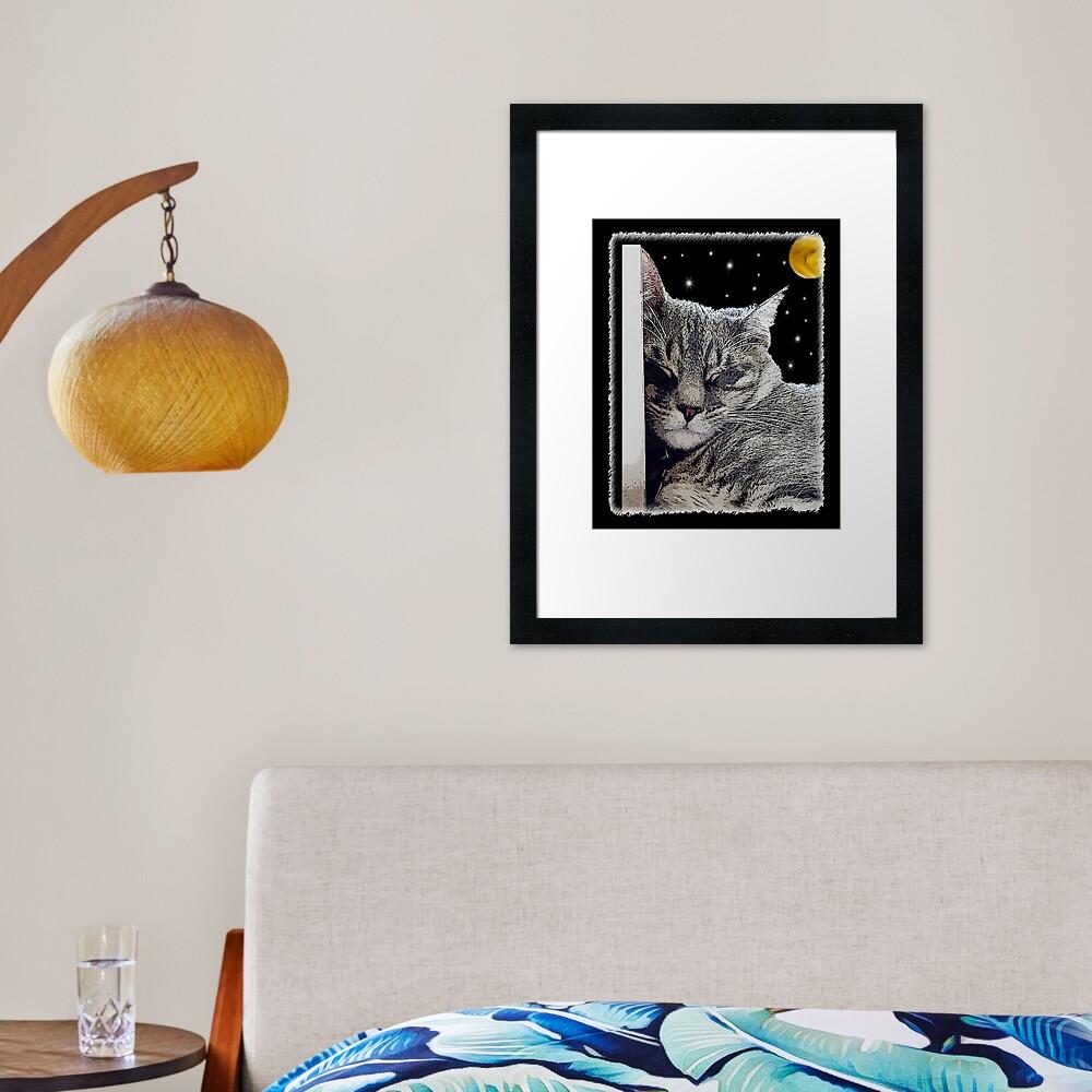 Catnap - Grey Tabby Cat  Framed Art Print