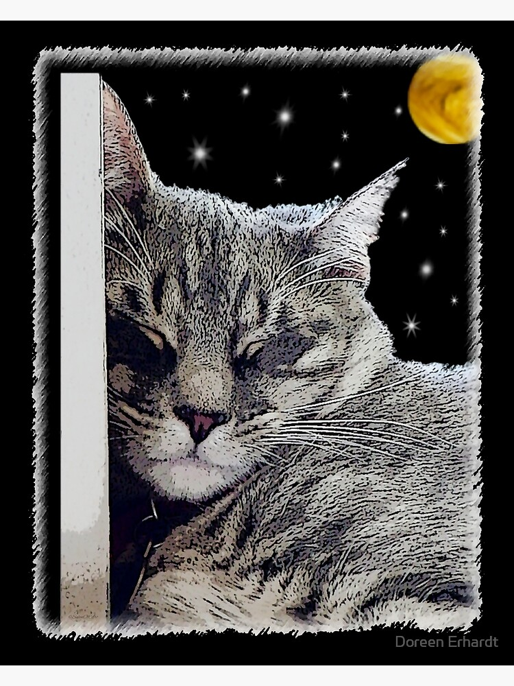 Catnap - Grey Tabby Cat  by SalonOfArt
