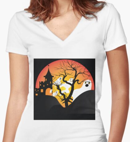 Halloween Ghost Flying out of castle Women's Fitted V-Neck T-Shirt