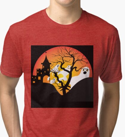 Halloween Ghost Flying out of castle Tri-blend T-Shirt