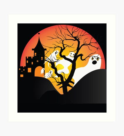 Halloween Ghost Flying out of castle Art Print