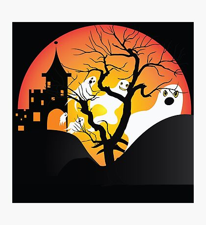Halloween Ghost Flying out of castle Photographic Print