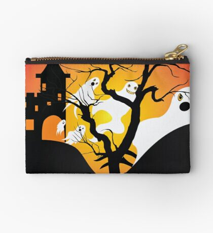 Halloween Ghost Flying out of castle Studio Pouch