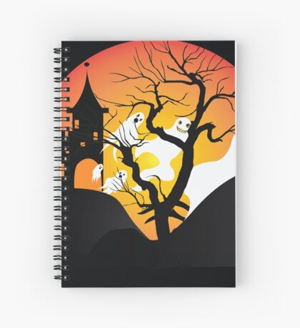 Halloween Ghost Flying out of castle Spiral Notebook