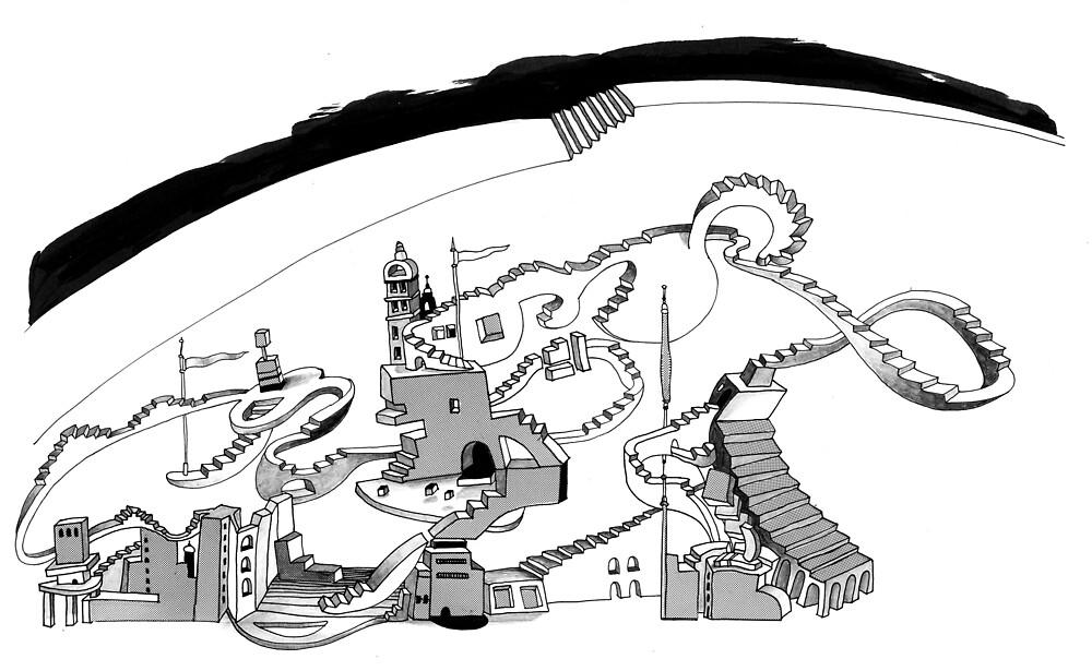 Treppenlandschaft mit Überweg / stair-landscape with way above by AnnetteMuse