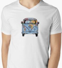 Trippy Little World Traveler VW Van V-Neck T-Shirt