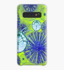Blue Microorganisms on Green Case/Skin for Samsung Galaxy
