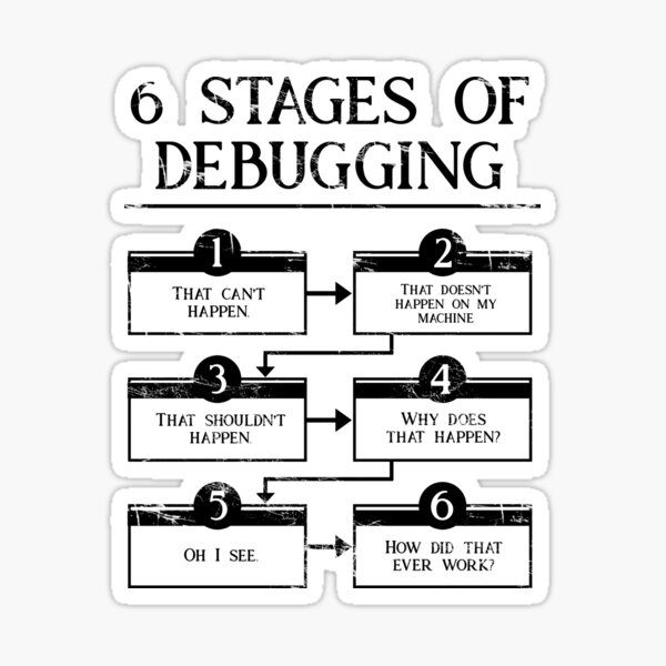 6 Stages Of Debugging  Sticker