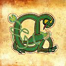 Celtic Frog  letter A - Ancient Canvas Version 2017 by Donna Huntriss
