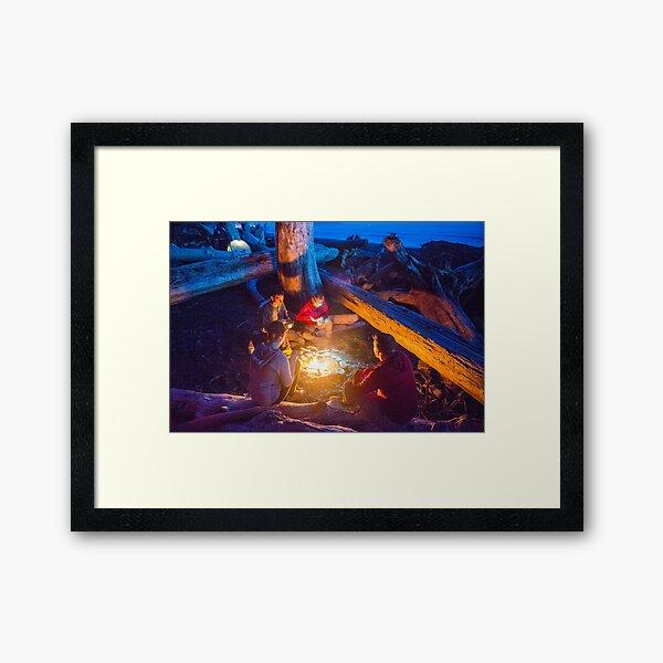 Camping with Friends - Rialto Beach, Washington Framed Art Print