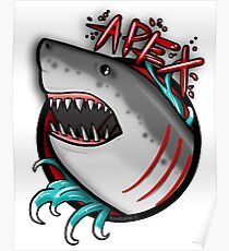 APEX PREDATOR (GREAT WHITE SHARK) WITHOUT ROSES Poster