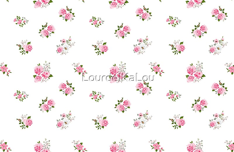 quotcute vintage rose flower pattern on white background