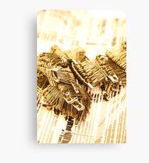 Golden Safety Pins Canvas Print