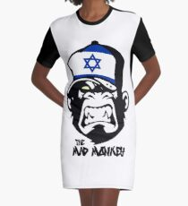 Israel Flag - Coat of Arms - Monkey Cartoon Graphic T-Shirt Dress