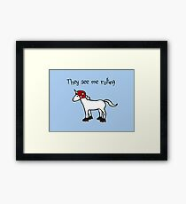 They See Me Rolling - Roller Derby Unicorn Framed Print