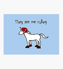 They See Me Rolling - Roller Derby Unicorn Photographic Print