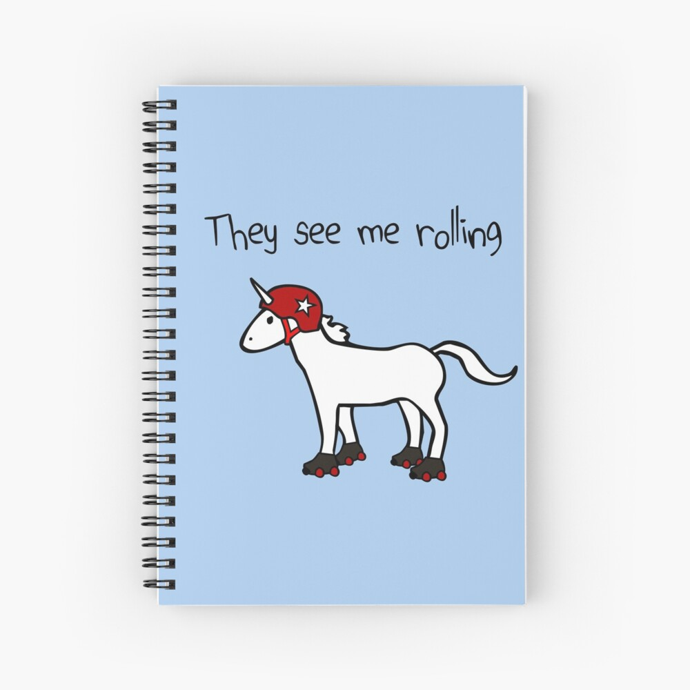 They See Me Rolling - Roller Derby Unicorn Spiral Notebook