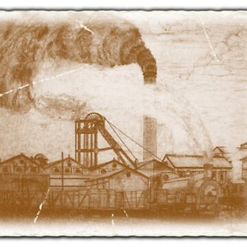 My pencil drawing of an Old Colliery in Yorkshire given an old photo effect 1920s (includes video) by ZipaC