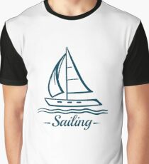 Sailing Badge With Sailboat Graphic T-Shirt