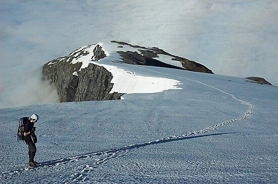 Climber on French Ridge, Mt Aspiring NP, New Zealand by Hugh Chaffey-Millar