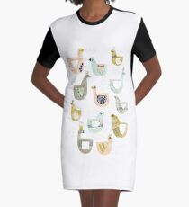 Folk Birds by Katy Bloss Graphic T-Shirt Dress