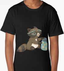 Funny little raccoon collects crickets Long T-Shirt