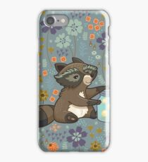 Funny little raccoon collects crickets iPhone Case/Skin