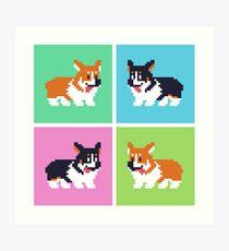 Pixel Corgi Blocks Art Print