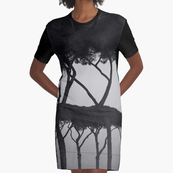 PHOTOGRAPHY BLACK AND WHITE TREES Graphic T-Shirt Dress