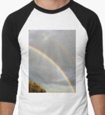 DOUBLE RAINBOW, PHOTOGRAPHY LANDSCAPE Men's Baseball ¾ T-Shirt