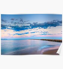 Tranquil behind the breakwater at sunset Poster