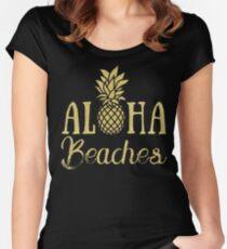 Aloha Beaches Pineapple Hawaii T-Shirt Women's Fitted Scoop T-Shirt