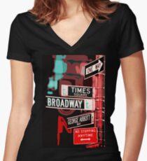Camiseta entallada de cuello en V Broadway Street - Nueva York