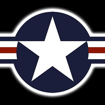 AIR FORCE, AMERICAN, USAF, Roundel, United States Air Force, aircraft, United States Navy, United States Marine Corps, on BLACK by TOMSREDBUBBLE