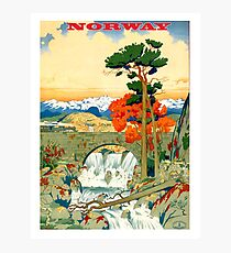Norway, nature, vintage travel poster Photographic Print