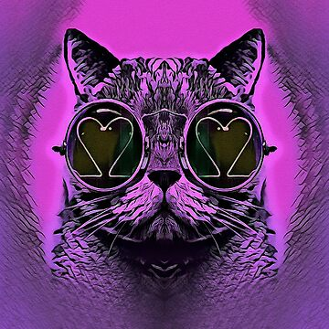 FUNNY CAT PINK by fuxart