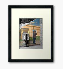 Grey Phone Booth Framed Print