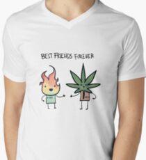 Beste Freunde für immer T-Shirt mit V-Ausschnitt
