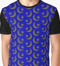 Gold on Blue, crescent moon and star pattern Graphic T-Shirt