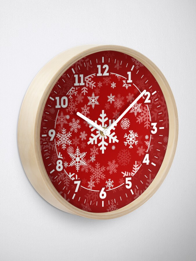 Alternate view of Snowflakes Pattern in Red Clock